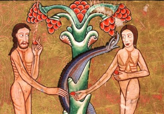 Adao-e-Eva- Iluminura- Manuscrito- Hunterian- séc-XII